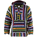 Siesta Sudadera con capucha estilo hippie–Rayas vibrantes multicolor Vibrant stripe large