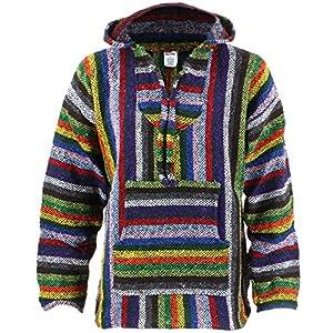 Siesta Sudadera con capucha estilo hippie–Rayas vibrantes   DeHippies.com