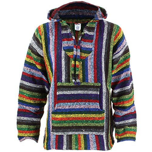Siesta Mexican Baja Jerga - Maglione hippie con cappuccio, a strisce con colori accesi Strisce vibranti. L