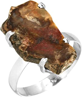 Natural Petrified Wood-Hampton Butte Fashion Jewelry Solid 925 Sterling Silver Ring Size 8.5