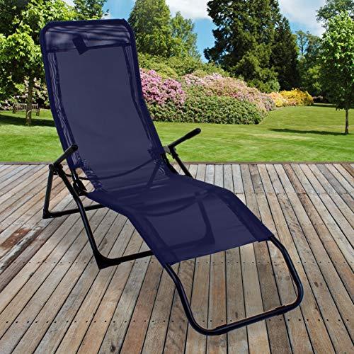 Marko 2 x Rocker Loungers Black Sunchair Recliner Outdoor Garden Furniture Folding (1x Lounger)