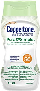 Coppertone Mineral Sunscreen lotion pure and Simple Spf 50, 100 percent Zinc oxide mineral Face and Body Sunscreen, Hypoal...