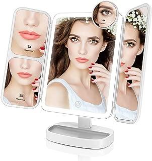 Easehold 化粧鏡 三面鏡 化粧ミラー 卓上ミラー 鏡 女優ミラー LEDライト付き 折りたたみ 10倍拡大鏡付き 180°回転 プレゼント