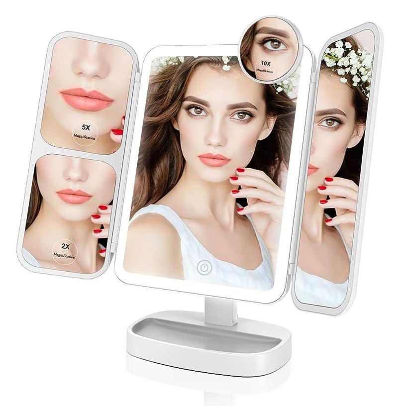 ストロー明るくするかるEasehold 化粧鏡 三面鏡 化粧ミラー 卓上ミラー 鏡 led付き 折りたたみ 2&5&10倍拡大鏡付き 明るさ調節可能 180°回転 プレゼント(ホワイト)