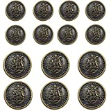 14 Piece Vintage Antique Brass (Bronze) Metal Blazer Button Set - King's Crowned, Vine Crest - for Blazer, Suits, Sport