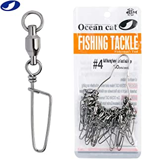 OCEAN CAT 60/90/120/150 Pcs Ball Bearing Swivel with Coast Lock Snap Fishing Snaps Kit Hooked Cross Snaps Stainless Steel Sea Fishing Tackle Hook Lure Connector Fishing Swivel Size 0#1#2#3#4#5#