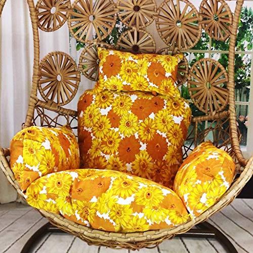 BLSTY Dik Hangstoel Opknoping Ei Stoel Kussen, Comfortabele Ademende Hangstoel Kussen voor Indoor Outdoor Vrije tijd Terug Kussen Yellow Flower