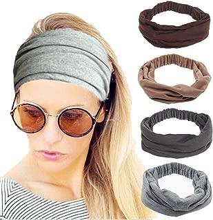 4 Pack Women Elastic Turban Head Wrap Headband Twisted Hair Band Cute Hair Accessories H1 (4 Color Pack S)