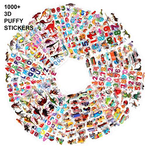 Howaf 48 Blatt 3D Aufkleber für Kinder Kleinkinder 1000+ Geschwollen Stickers für jungen Mädchen Lehrer Verschiedene Set Buchstaben, Zahlen, Dinosaurier, Autos und mehr