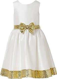 Fairy Dolls Girl's A-Line Knee Length Frock (MULTIDESIGN53_Gold_9-10 Years)
