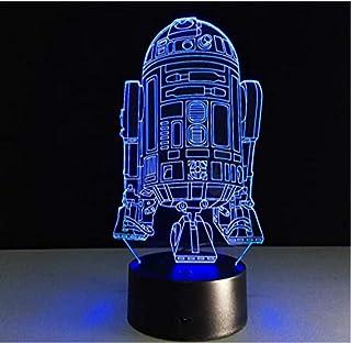 Cool Star Wars R2D2 Robot Novedad 3D Luz de noche LED Lámpara de Mesita de Noche Mesa de Escritorio Lampe USB Nightlight para Niños