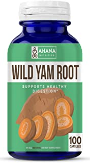 Ahana Nutrition Wild Yam Root Capsules - Supports Women's Health, PMS and Healthy Digestion (425mg Dioscorea Villosa – 100 Capsules)