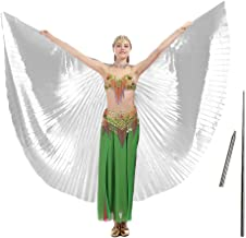 iMucci 14 Colors Belly Dance Wing with Rods–360 Degree Isis Angel Wings with Portable Telescopic Sticks for Adults and Child