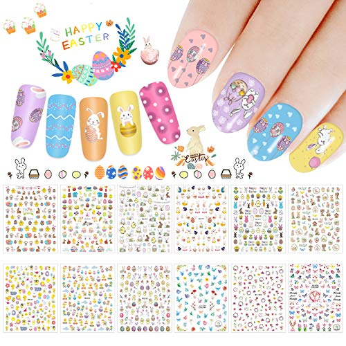Whaline 1000+ pcs Easter Nail Art Stickers, 3D Self-Adhesive Stickers Nail Decals Bunny Egg Chick Nail Decoration Tattoo Spring Butterfly for Women Girls Kids Manicure DIY or Nail Salon,12 Sheets
