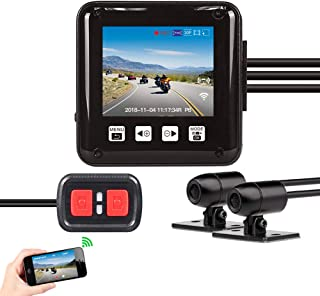 Vsysto Dash cam/Sport Accident Proof Camera DVR Full Body Waterproof IMX323 Front and Rear View Lens Driving Recorder for Motorcycle/Bike with 2'' Screen(1080p+720P)