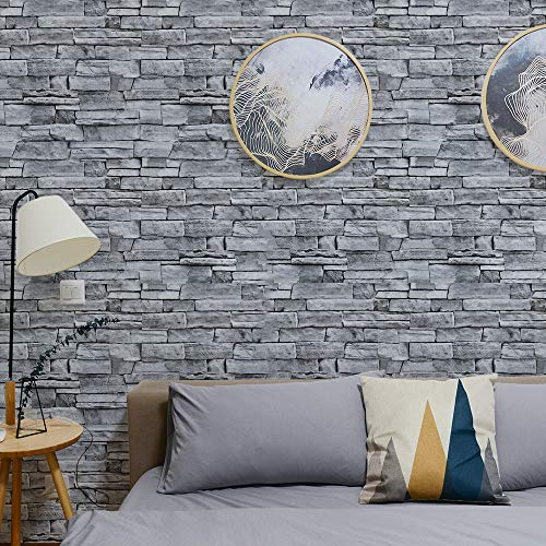 "ODS Brick Wallpaper Peel and Stick Gray Removable Backsplash 17.71""x236.22"" Wallpaper Self Adhesive for Kitchen Countertops Decorative Dorm Wall Coverings Waterproof Sticker"