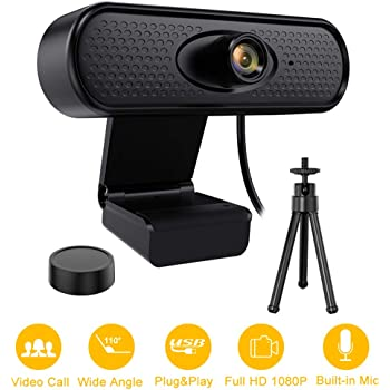 1080P HD Webcam with Privacy Cover and Tripod USB PC Webcam for Video Calling Recording Conferencing Webcam with Microphone Streaming Computer Web Camera with 110-Degree Wide View Angle