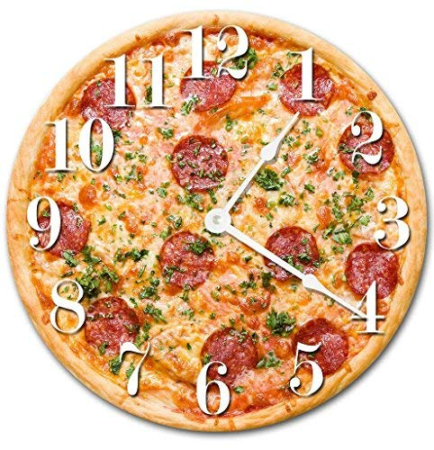 HSSS Vintage Delicious Pepperoni Käse Pizza-Uhr Dekorative Runde Holz-Wanduhr – 30,5 cm