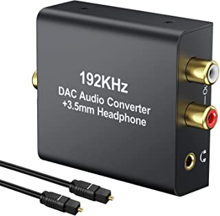 Microware 192KHz Digital to Analog Audio Converter DAC Converter Digital Optical SPDIF Toslink Coaxial to Analog RCA L/R 3.5mm Jack Stereo Audio Adapter Converter with Optical Cable for HDTV PS3 PS4
