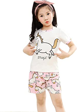 32f00bb225 Kid Girls Big Girls Cute Unicorn Short Sleeves Summer Pajamas Set Casual  Sleepwear