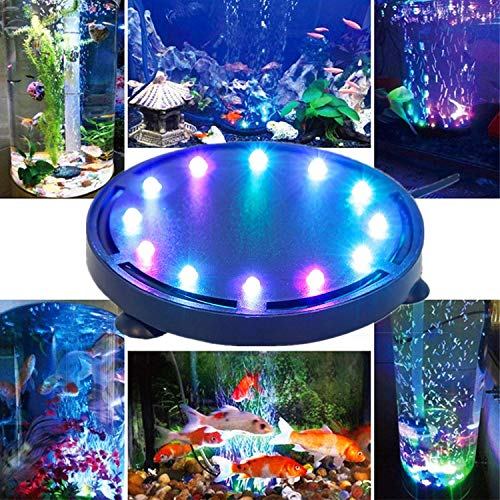 12LED Aquarium Bubble Light, Buntes Aquarium Luft Stein Lichtpumpe Luftblase Stein Lampe Fish Tank Bubble