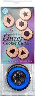 R&M International 1838 Traditional Linzer Cookie Cutters, Diamond, Heart, Flower, Triangle, Star, Circle, 6-Piece Set