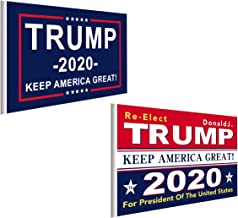 Trump 2020 Flags - Supporting Donald Trump for President Re-Election 2020 Flags, 3 x 5 Feet Keep America Great Flag with Brass Grommets Stickers for Supporters (Red + Blue)