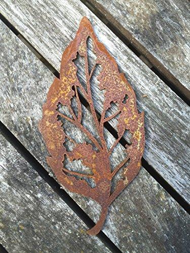 Saremo Blattsklett 10 Stück im Set groß 19cm Rost Metalldesign Garten Dekor Blatt