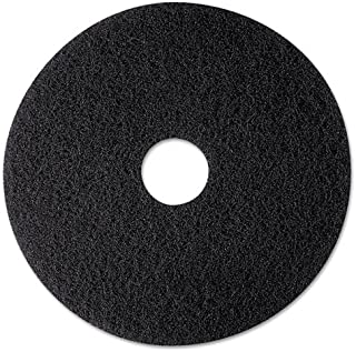 3M Low Speed High Productivity Black Floor Stripping Pad 7300 - Round, 12 inch Diameter, 0.5 inch Thick, Nylon, Perforated Center Hole, Removes Old Floor Finish, Dirt-heavy Buildup - 5 per case.