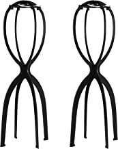 Dreamlover 2 Pack 19.7 Inches Portable Tall Wig Stands for All Wigs, Collapsible Wig Dryer, Durable Wig Display Tool, Travel Wig Stands (Black)