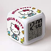 jiangying home Cartoon Hello Kitty Alarm Clock Hello Kitty Despertador Colorido Regalo Creativo Color LED Alarm Clock DIY