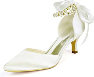 1608-28 Women Ankle Strap Bridal Shoes Pointed Toe Mid Heeled Pumps Pearl Ribbon Satin Wedding Party Court Shoes