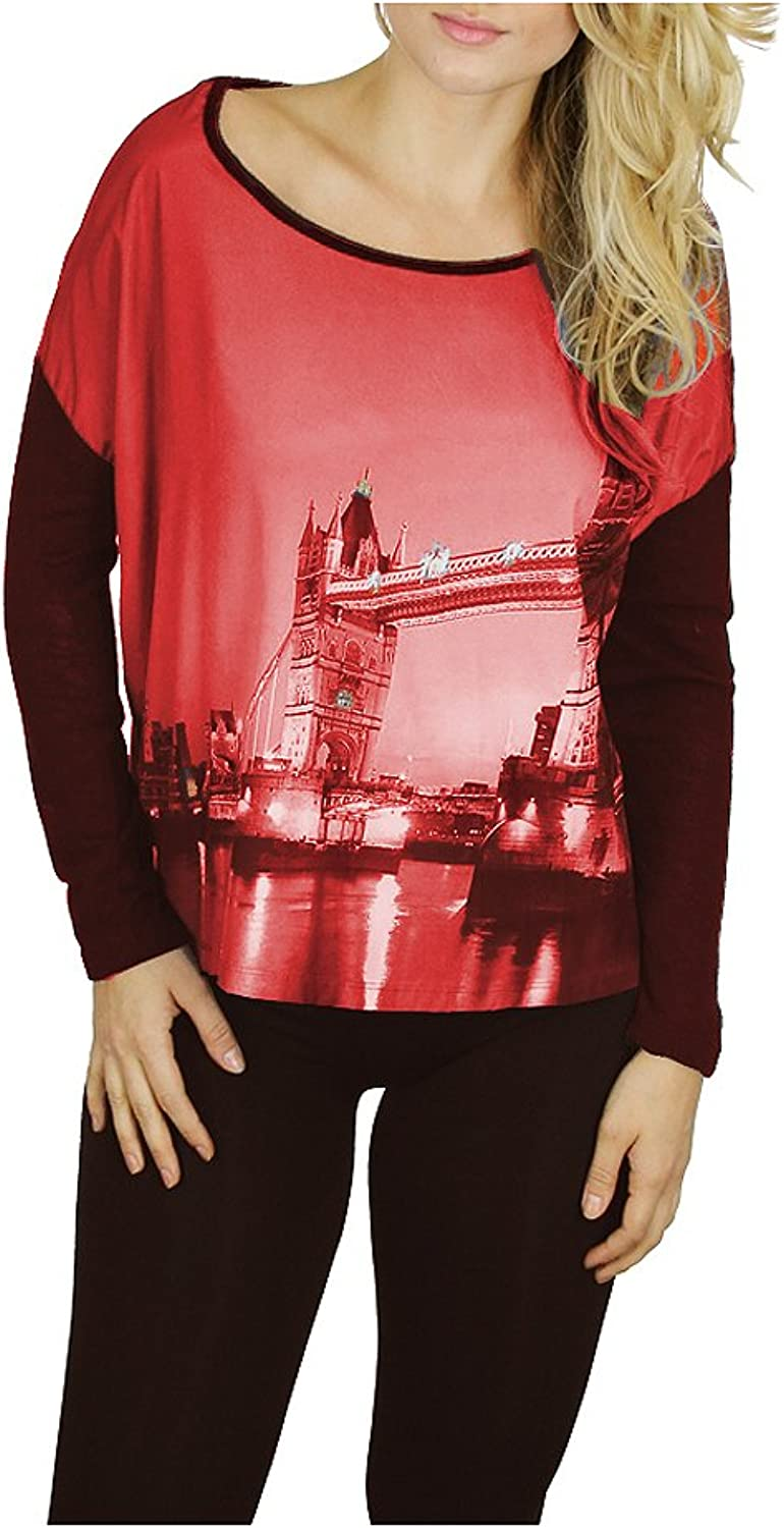 Kessley Women's London Bridge Print LongSleeve Top with Solid Burnout Fabric Back HighLow Shirt
