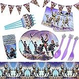 Yisscen Juego de vajilla para fiesta de videojuegos de 82 piezas, juego de accesorios para fiestas, decoraciones de cumpleaños para niños, fiestas de cumpleaños para niños