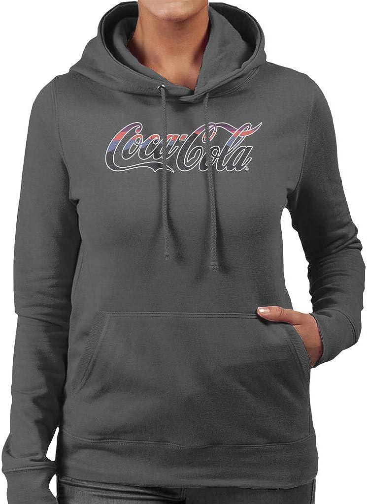 Coca-Cola White Selling rankings Outline Striped Sweatshirt Logo Virginia Beach Mall Women's Hooded