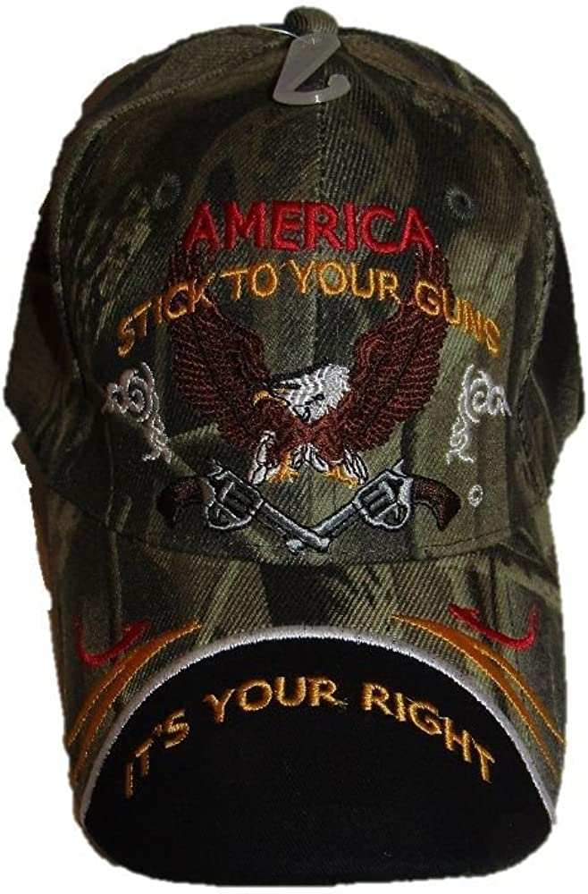 RFCO 2nd Amendment America Stick to Your Guns It's Your Right NRA Camo Black Cap Hat