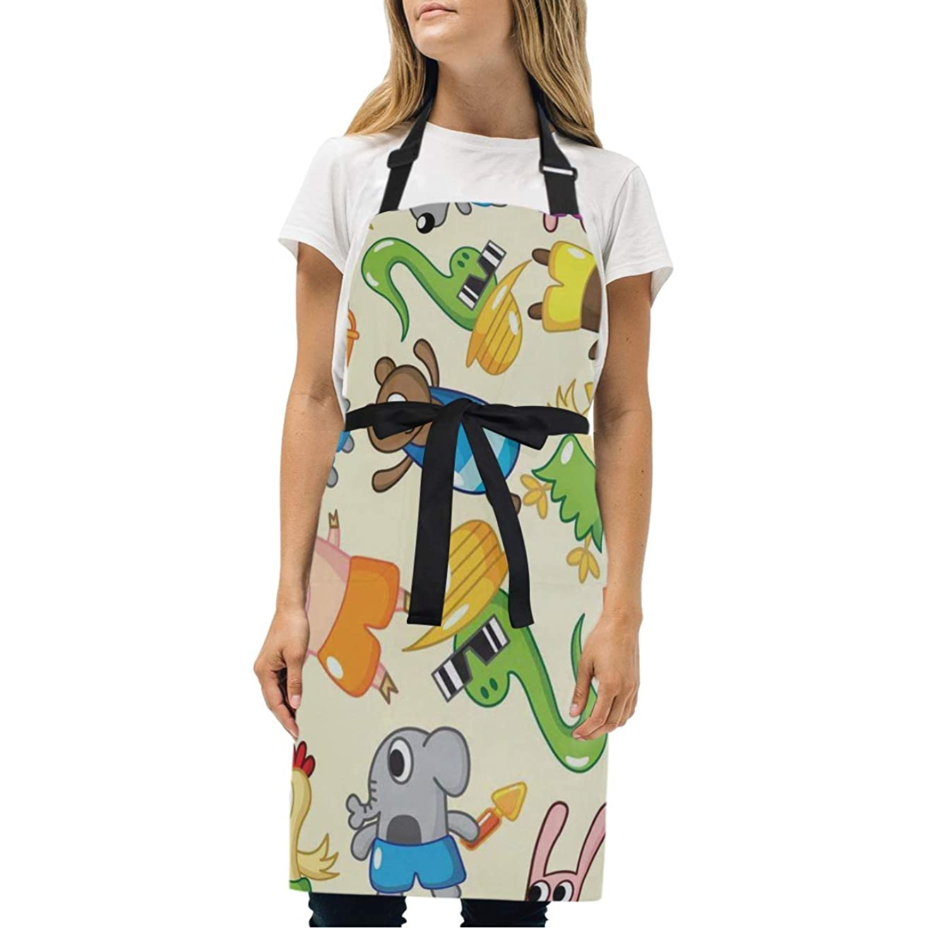 HJudge Womens Aprons Bear Sheep Pig Kitchen Bib Aprons with Pockets Adjustable Buckle on Neck