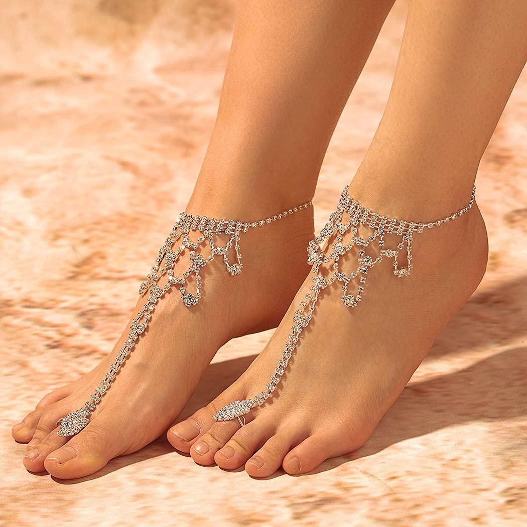 Campsis Boho Rhinestone Anklet Wedding mart Chains Foot Sliver Sales