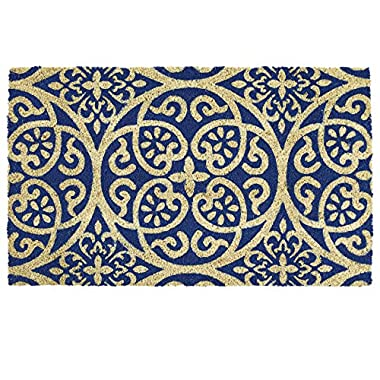 DII Indoor/Outdoor Natural Coir Easy Clean Rubber Non Slip Backing Entry Way Doormat For Patio, Front Door, All Weather Exterior Doors, 18 x 30 - Blue Tunisia Scroll