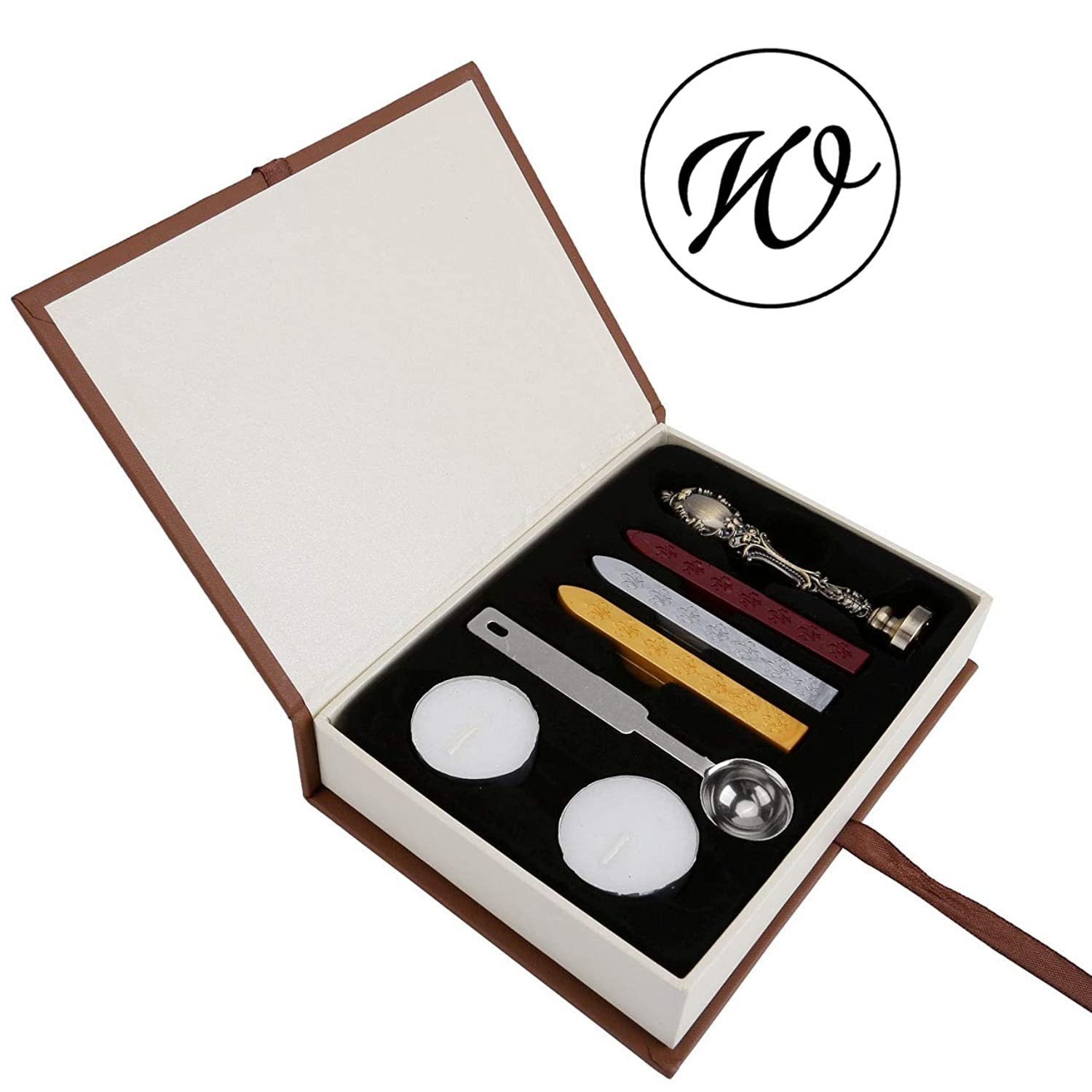 W Wax Seal Stamp Set, Yoption Classic Vintage Style Brass Color Antique Alphabet Initial Letter W Sealing Wax Stamp Set, Retro Seal Stamps Maker Gift Box Set, Ideal Gift