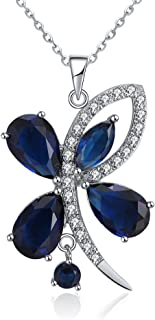 Butterfly Flower Blue CZ Pendant Chain Necklace Ginger Lyne Luxury Collection