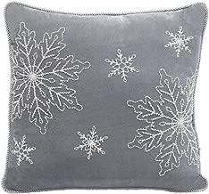 Comfy Hour 18x18 Winter Christmas Snowflake Accent Pillow Throw Pillow Seasonal Cushion, Dark Gray