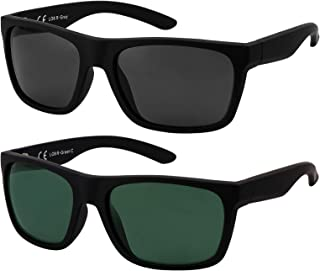 La Optica B.L.M. - La Optica Gafas de Sol LO8 UV400 Deportivas da Hombre y Mujer, Goma Negro (Lentes: 1 x Gris, 1 x Verde)