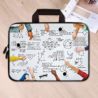Mathematics Classroom Decor Custom Neoprene Laptop Bag,Research Solving Problems Studying Brainstorming Concept Image Decorative for Men Women Students,8.7''L x 11''W x 0.8''H