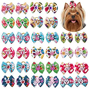 20Pcs/10pairs Dog Hair Bows for Easter Dog Rhinestone Bows with Rubber Bands Rabbit Eggs Styles Puppy Dog Bows Topknot Dog Grooming Accessories