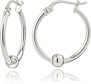 Hoops & Loops - Sterling Silver 18mm Ball Bead Accent Click Top Hoop Earrings | Sterling Silver, Yellow & Rose Gold Flash Platted