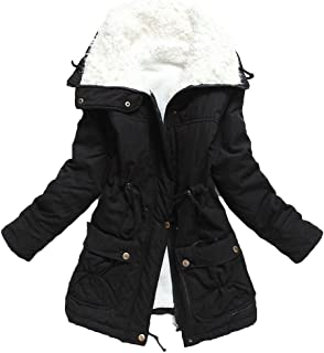 Ecupper Women's Plus Size Coats Shepra Lined Parkas with Faux Fur Drawstring Jackets
