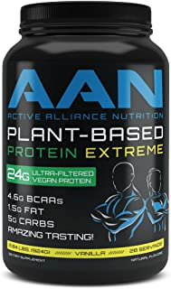 AAN Plant Based Protein 2.04 LBS Vegan Friendly Post or Pre Workout Shake - Naturally Sweetened 28 Servings (Vanilla)