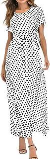 KRUIHAN Women Long Loose Evening Dress - Ladies Polk Dot Casual Style Maxi Gown
