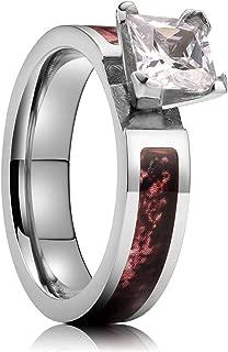 NaNa Chic Jewelry 4mm Silver Titanium Ring Inlaid with Zircon Pink Camo Sticker